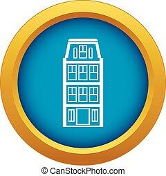 azul, isolado, casas, vetorial, holandês, ícone
