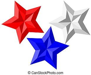 azul, isolado, estrelas, branco vermelho, 3d