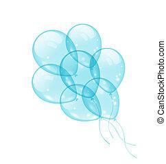 azul, isolado, fundo, branca, balões, grupo
