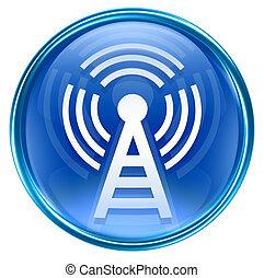 azul, isolado, fundo, torre, wi-fi, branca, ícone