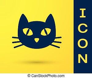 azul, isolado, gato amarelo, experiência., vetorial, ilustração, ícone