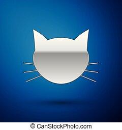azul, isolado, ilustração, gato, experiência., vetorial, prata, ícone