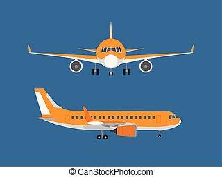 azul, isolado, ilustração, vetorial, fundo, avião