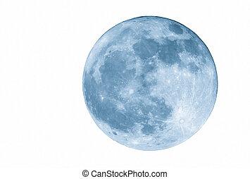 azul, isolado, lua cheia, 2400mm
