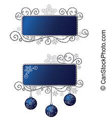 azul, &, isolado, prata, bordas, natal