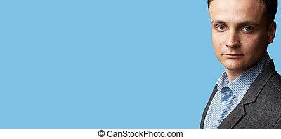 azul, isolado, rosto, fundo, bonito, homem