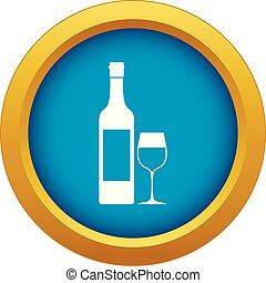 azul, isolado, vetorial, garrafa, vinho, ícone
