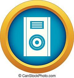 azul, isolado, vetorial, música, orador, ícone