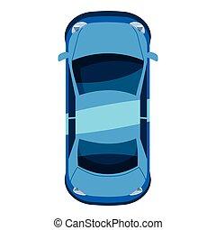 azul, isometric, car, topo, estilo, ícone, vista, 3d