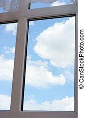 azul, janela, céu