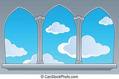 azul, janela, céu, castelo, vista