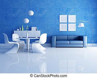 azul, jantar, quarto branco