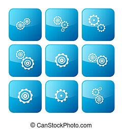 azul, jogo, ícones, cogs, -, isolado, vetorial, engrenagens, fundo, branca