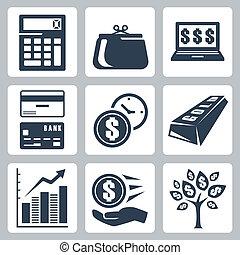 azul, jogo, ícones, dinheiro, escuro, vetorial