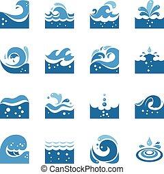 azul, jogo, ícones, onda