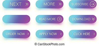 azul, jogo, ícones, roxo, isolado, white.
