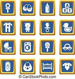 azul, jogo, ícones, vetorial, nascido, quadrado, bebê