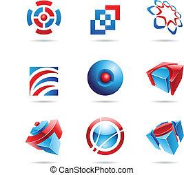 azul, jogo, 14, abstratos, vermelho, ícone