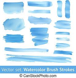 azul, jogo, aquarela, vetorial, escova, stroke.