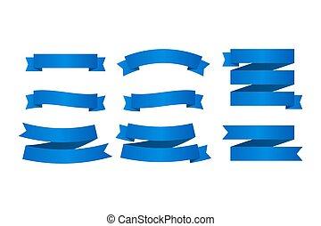azul, jogo, banners., illustration., fitas, vetorial, ribbons.
