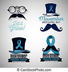 azul, jogo, bigode, fita, óculos