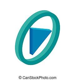 azul, jogo, botão, isometric, 3d, redondo, ícone