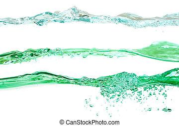 azul, jogo, cores água, experiência verde, ondas, branca