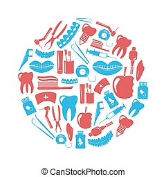 azul, jogo, eps10, ícones, dental, tema, círculo, vermelho
