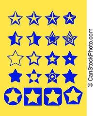 azul, jogo, estrela, fundo, ponto, amarela, ilustração, pentagonal, vetorial, desenho, cobrança, modelo, emblema, cinco, elementos, ícone