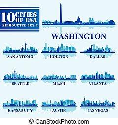 azul, jogo, eua, silhuetas, 2, fundo, cidades