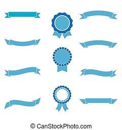 azul, jogo, fitas, labels.vector