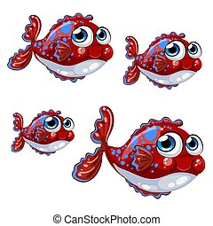 azul, jogo, illustration., inchado, peixe, isolado, manchas, experiência., vetorial, branca, caricatura, vermelho