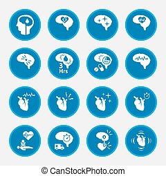 azul, jogo, infographic., doença, apoplexia, círculo, botão, ícone
