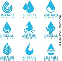 azul, jogo, logotipos, ícones, gota, água, vetorial