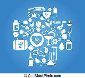 azul, jogo, médico, crucifixos, saúde, ícone
