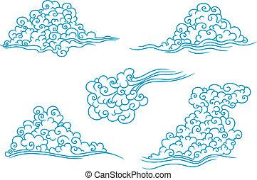 azul, jogo, nuvens