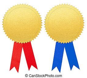 azul, jogo, ouro, isolado, arco, papel, selo, medalha, ou, vermelho