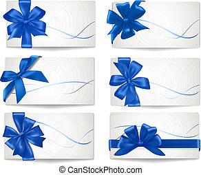 azul, jogo, presente, arcos, vector., ribbons., cartões
