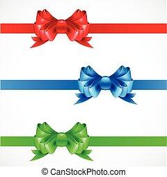 azul, jogo, presente, color., arcos, verde, ribbons., vermelho