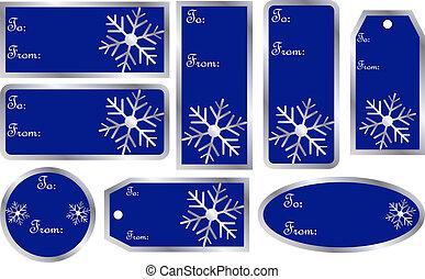 azul, jogo, presente natal, etiquetas