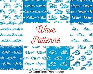 azul, jogo, seamless, oceânicos, padrões, ondas, branca