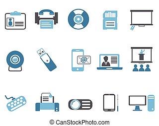 azul, jogo, tecnologia, ícones escritório