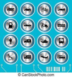 azul, jogo, transporte, ícones