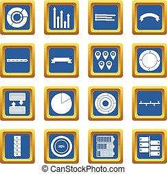 azul, jogo, vário, pessoas, ícones