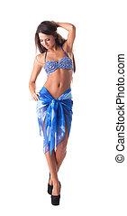 azul, jovem, swimsuit, mulher, posar, excitado