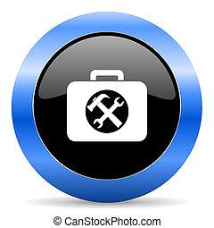azul, juego herramientas, brillante, icono