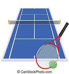 azul, juego, pista de tenis