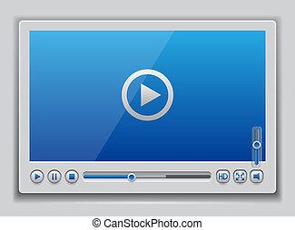 azul, jugador, vídeo, brillante, plantilla