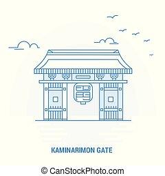 azul, kaminarimon, plantilla, cartel, creativo, plano de...