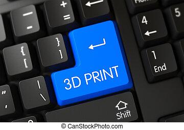azul, keypad, -, teclado, 3d, print.